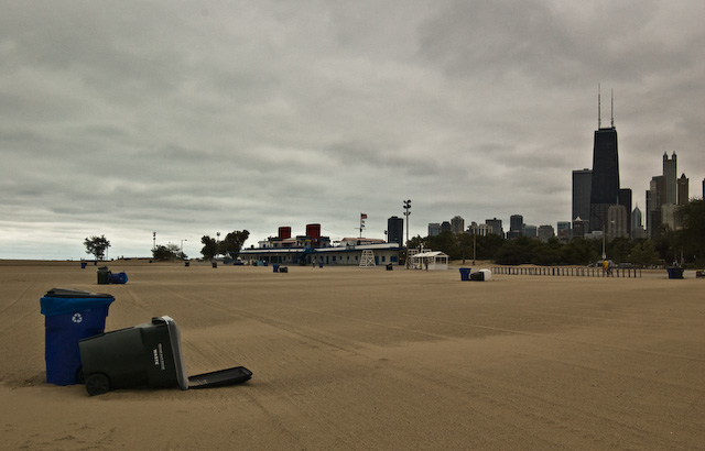 early winter on chicago beach