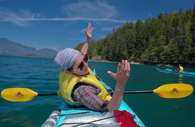 jane displaying nootka sound from a kayak